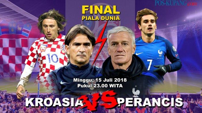 Nonton Live Trans 7 Final Piala Dunia 2018, Babak Kedua Prancis vs Kroasia Segera Berlangsung