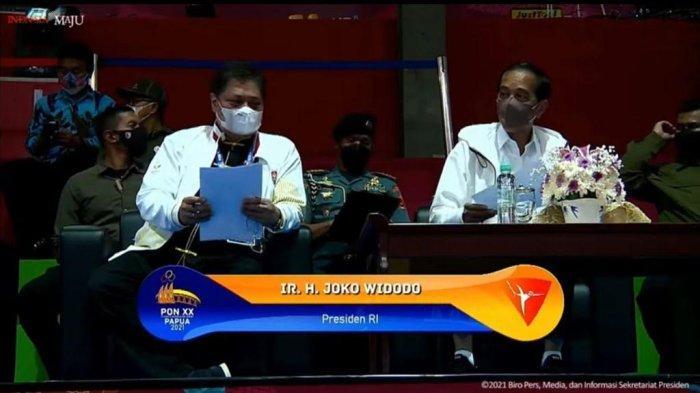 Presiden Jokowi dan Airlangga Nonton Bareng PON Wushu