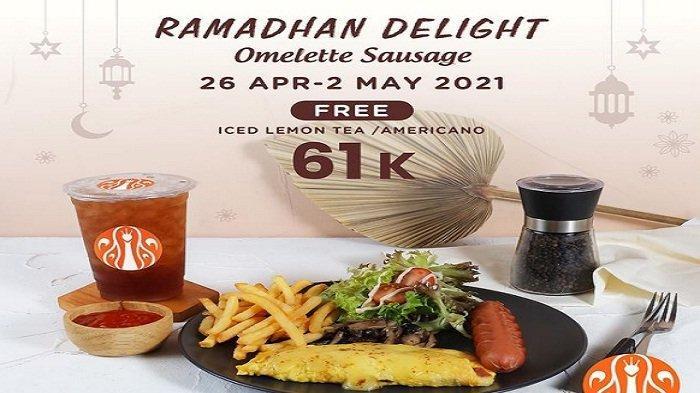 JCO Hari Ini 27 April 2021 Ramadan Delight Omelette Sausage +Iced Lemon Tea/ Americano Rp61ribu