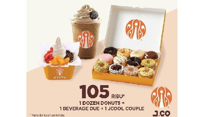 Promo JCO Besok Kamis 8 April 2021, 1 Dozen Donat + 1 Beverage Due + 1 JCOOL Couple Cuma Rp 105 Ribu