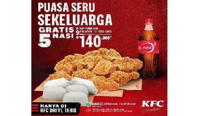 Promo KFC Rabu 5 Mei 2021, Promo KFC Gratis 5 Nasi untuk 9 Ayam + 1 Liter Coca Cola Harga Rp 140.000