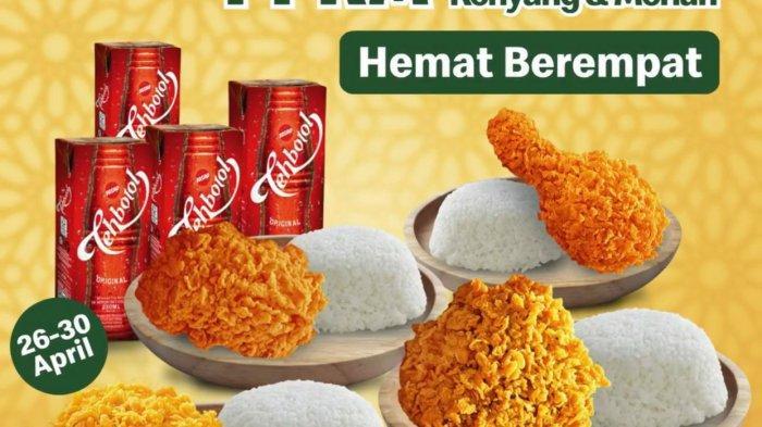 Promo McDonalds Selasa 27 April 2021, Paket Hemat Berempat, 4 Nasi + 4 Ayam + 4 Teh Botol Rp 95.455