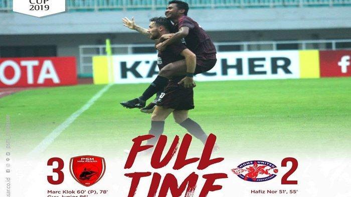 PSM Makassar Menang 3-2 Atas Home United, Juku Eja Melaju ke Semifinal Piala AFC