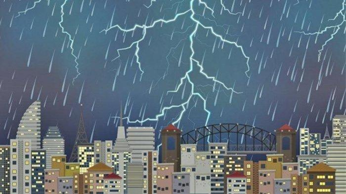 Ilustrasi hujan petir - Peringatan dini cuaca hari ini, Kamis 8 April 2021.
