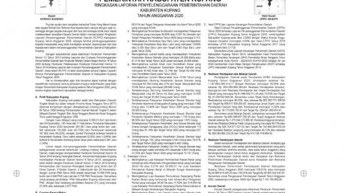 Ringkasan Laporan Penyelenggaraan Pemerintah Daerah Kabupaten Kupang Tahun Anggaran 2020
