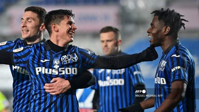 Skuad Atalantan merayakan gol ke gawan Napoli 10 Februari 2021