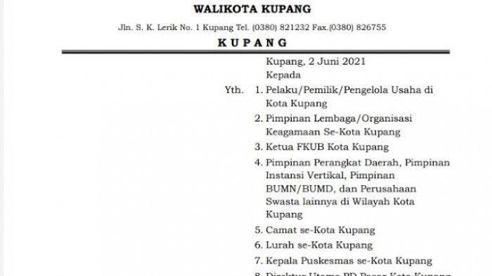 Langkap Layar Surat Edaran Walikota Kupang Tentang PPKM