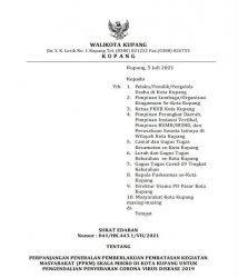 Pemkot Kupang Kembali Perpanjang PPKM Akibat Lonjakan Kasus Covid-19