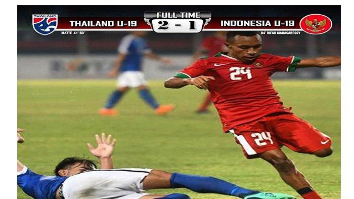 Hasil Akhir Pertandingan Grup A Piala AFF U-19, Thailand Menang atas Indonesia 2-1