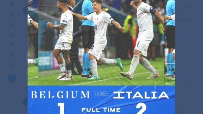 Belgia Tumbang Digusur Italia dari Babak Perempatfinal Skor Kemenangan 2-1, Spanyol Siap Semifinal