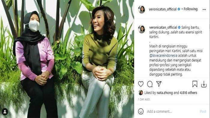 Unggahan Veronica Tan  saat bersama sahabatnya