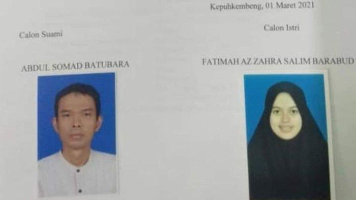 Tangkapan layar dari dokumen persetujuan calon pengantin yang tertera nama Abdul Somad Batubara dan Fatimah Azzahra Salim Barabud. Dokumen itu beredar luas melalui aplikasi perpesanan WhatsApp.