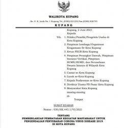 Walikota Kupang Kembali Perpanjang Pemberlakuan Pembatasan Kegiatan Masyarakat, Cek Info