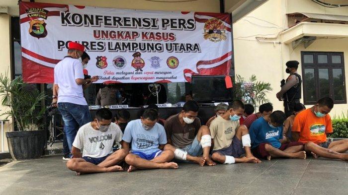 2 dari 13 Tersangka yang Diamankan Polres Lampung Utara Dihadiahi Timah Panas