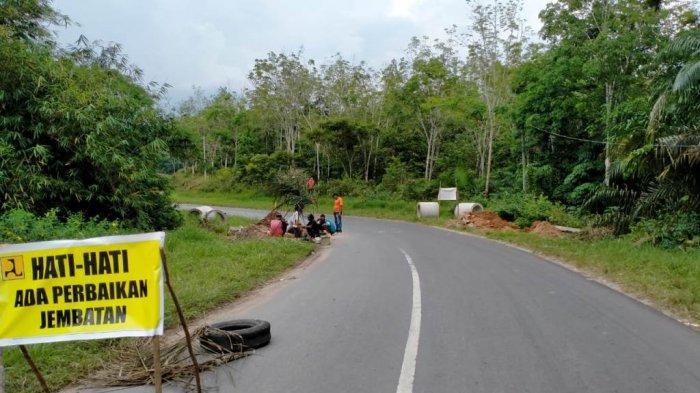 Akhirnya Jalan Berlubang di Dekat Patung Megou Pak Tulangbawang Barat Diperbaiki