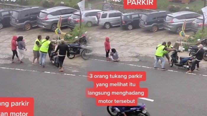 3 Tukang Parkir Selamatkan 2 Wanita Pengendara Motor yang Alami Rem Blong