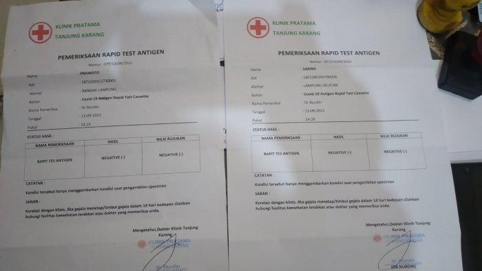 Praktik Antigen Palsu di Bandar Lampung Digerebek, Pasang Tarif Mulai Rp 50 Ribu