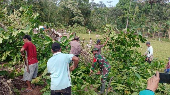 TNI-Polri Bantu Warga Perlebar Jalan Tanjung Rusia Timur, Pringsewu Lampung Sepanjang 1.500 M