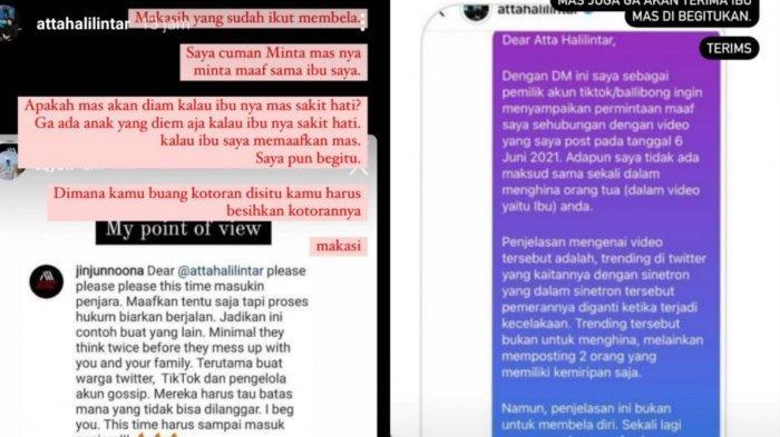 Tangkap layar Instagram Story Atta Halilintar