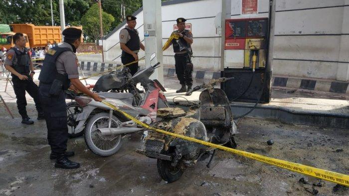 Diduga Mau Ngecor Bensin di SPBU, Motor Suzuki Thunder Terbakar Menyambar Mobil dan Pom Bensin