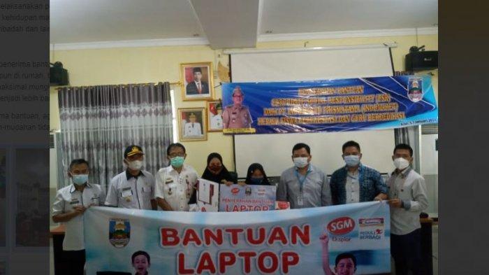 Agus Istiqlal Terima Bantuan Laptop untuk Siswa dan Guru Berprestasi dari PT Indomarco Prismatama