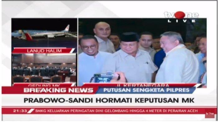 Meski Kecewa Terhadap Putusan MK, Prabowo Subianto-Sandiaga Uno Sebut Tetap Hormati Keputusan Hakim