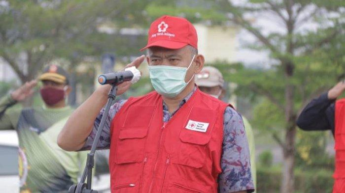 Cegah Sebaran Covid-19, PMI Semprot Disinfektan ke Sejumlah Titik di Pringsewu