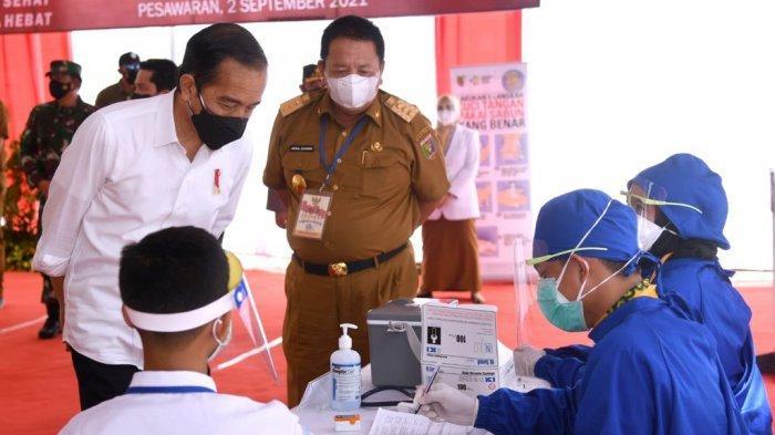 Kunjungan Kerja Ke Lampung, Presiden Joko Widodo Tinjau Vaksinasi dan Resmikan Bendungan