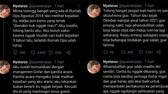 Tangkap layar, cuitan terbaru korban pelecehan seksual Gofar Hilman di Twitter.