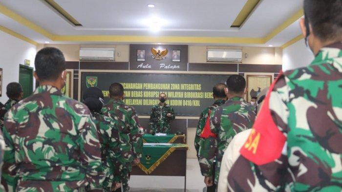 Dandim 0410/KBL Pimpin Penandatangan Fakta Integritas TNI AD