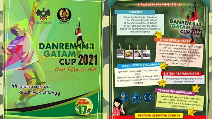Turnamen Tenis Danrem 043/Gatam Cup Digelar 17 Februari 2021, Berhadiah Total Rp 17 Juta