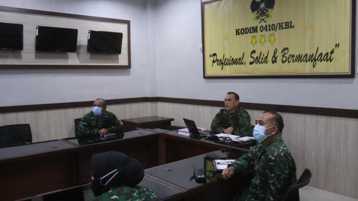 Jelang Libur Lebaran, Dandim 0410/KBL Hadiri Evaluasi Pemberlakuan Pembatasan Kegiatan Masyarakat