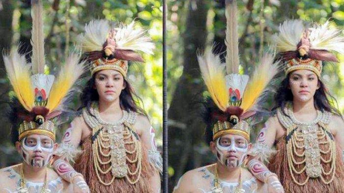 DULU AJUDAN KINI JADI MANTU - Iptu Hotma PA Manurung bersama calon istrinya Raisa Waterpauw mengenakan pakaian adat khas Suku Papua pegunungan, pada Juni 2021. Resepsi pernikahan digelar di Hotel The Sultan, kawasan Senayan, Jakarta, Sabtu (19/6/2021).