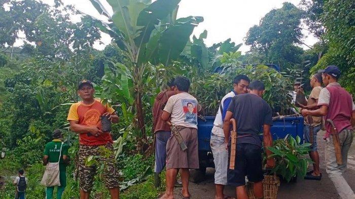 Warga Desa Gunung Gijul, Kecamatan Abung Tengah, Lampung Utara menanam berbagai pohon langka, Minggu (17/1/2021).