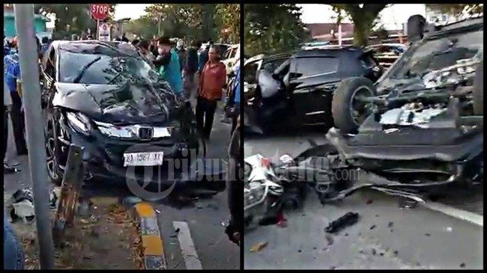 Video Detik-detik Kecelakaan Beruntun di Simpang SMAN 7 Padang, Diduga Sopir Mengantuk