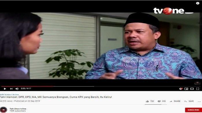 Di ILC TV One, Fahri Hamzah Usul Agar KPK Dibubarkan