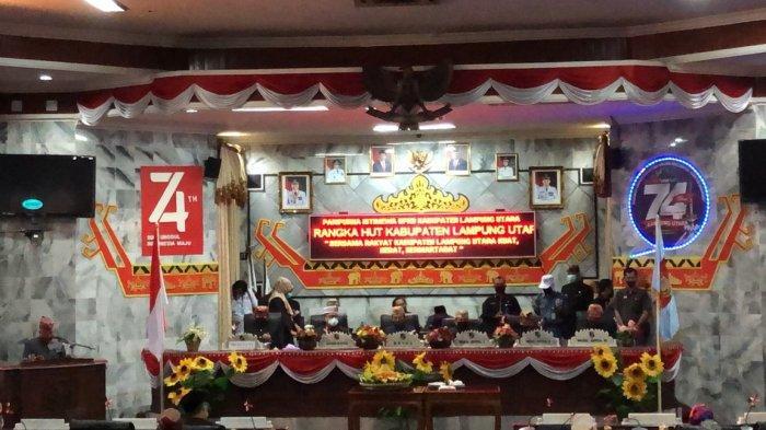 DPRD Lampung Utara Gelar Rapat Paripurna Peringatan HUT 74 Lampura