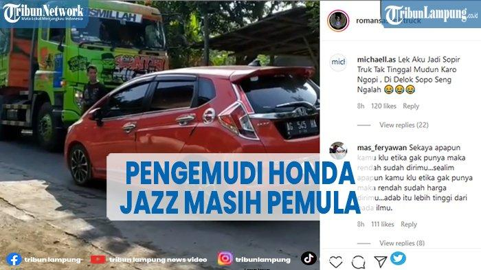 Fakta di Balik Truk vs Honda Jazz Tidak Ada yang Mau Ngalah, Sopir Truk sampai Turun