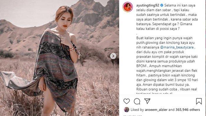Foto Ayu Ting Ting pakai sehelai kain banjir komentar hingga dapat 365 ribu likes, di Instagram pribadinya, @ayutingting92.