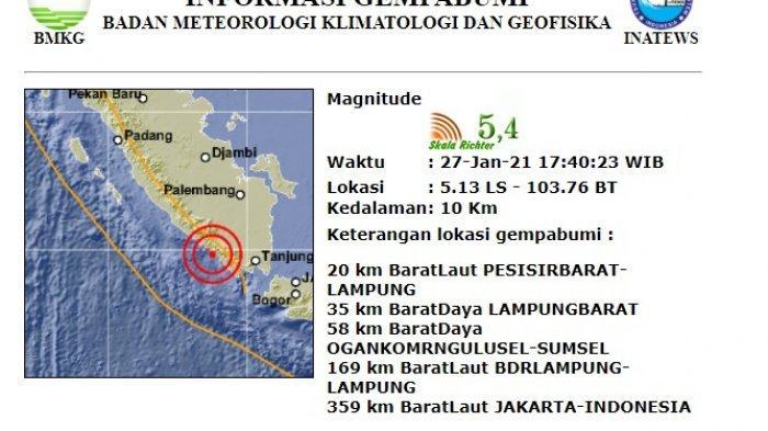 Gempa Magnitudo 5,4 Guncang Pesisir Barat, Terasa hingga ke Bengkulu