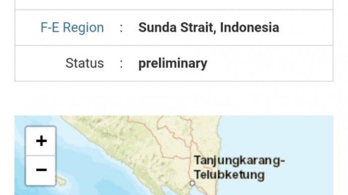 Gempa Magnitudo 5,5 Guncang Tanggamus Lampung, Pusat Gempa di Selat Sunda