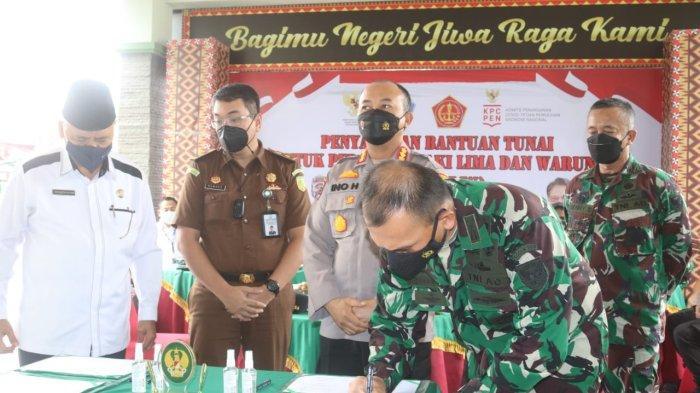 Dandim 0410 Hadiri Launching Program Penyaluran Bantuan Tunai Pedagang Kaki Lima dan Warung