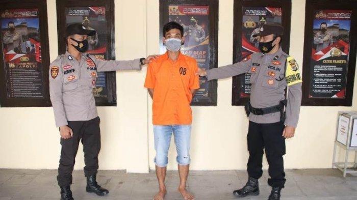 Tersangka kasus suami aniaya istri. Seorang ibu hamil dipukuli hingga babak belur di Pringsewu, Lampung.