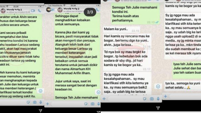 Tangkap layar isi pesan singkat Umi Yuni dan Julie Tan yang diunggah di Instagram Strory Umi Yuni.