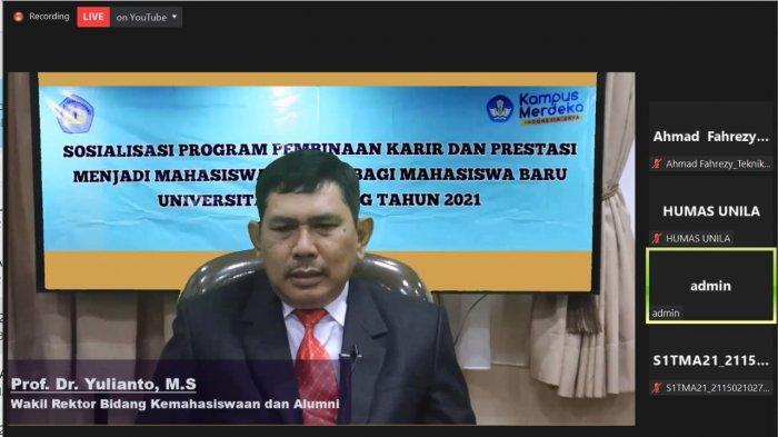 Wakil Rektor Bidang Kemahasiswaan Unila Buka Sosialisasi Program Pembinaan Karir