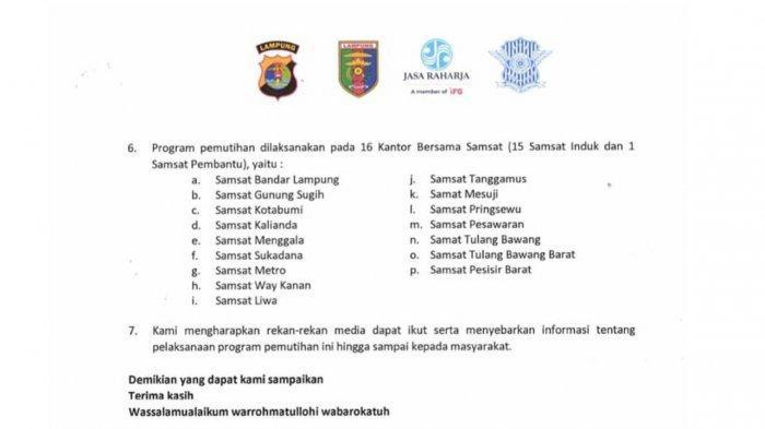 Jasa Raharja Lampung mendukung pelaksanaan program pemutihan pajak kendaraan bermotor tahun 2021 yang mulai dilaksanakan, mulai 1 April – 30 September