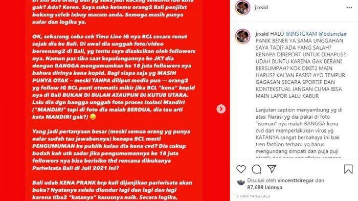 Jerinx ngamuk di instagram usai unggahannya dihapus