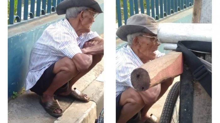 Kakek Pedagang Keliling Ini Ogah Bicara Menahan Sakit di Perut karena Sahur Cuma Air Putih