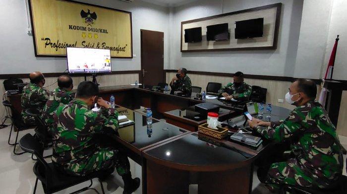 Komandan Kodim 0410/KBL Ikuti Rakor Pencegahan Covid 19 Bersama Gubernur Lampung