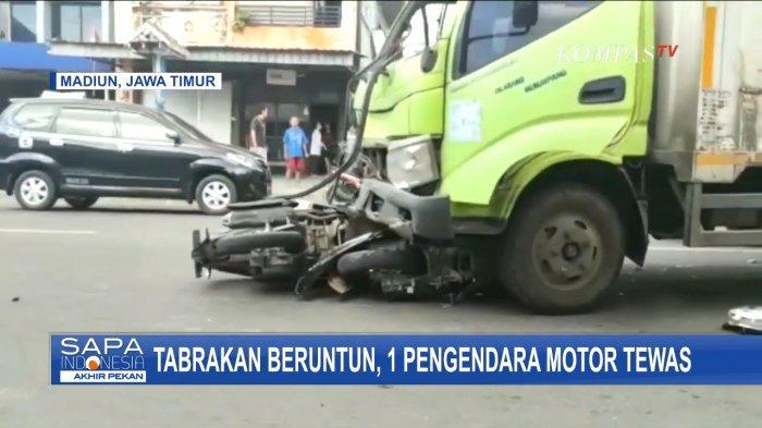 Kecelakaan Maut di Madiun, Pengendara Motor Tewas Terseret Truk